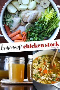 Homemade Chicken Stock is incredibly easy to make and worth the extra time it takes. Use it for soup, pasta, rice, or any dish that calls for broth...or just enjoy sipping on its own. My recipe is so packed with flavor you'll want it in your freezer all the time! #cookiesandcups #homemade #chickensoup #chickenstock #bonebroth #chickenbroth