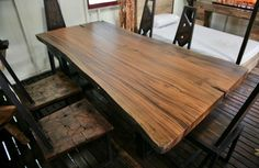 Solid Slab Wood Table Custom Sizes Available by ThaiSlabFurniture, $5100.00