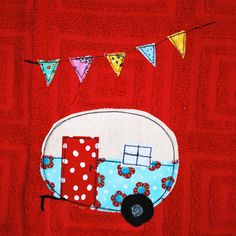 Vintage Camper Trailer Dish Towel Red by CreativeJunkee on Etsy