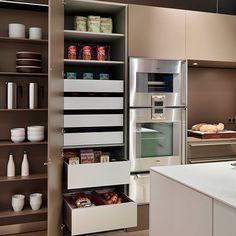 Modern larder shelving with drawers