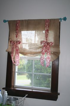 Burlap and Ribbon curtains! We actually have cortinas curtains in our guest room but would love to do them in the baby room too! Laundry Room Curtains, Tie Up Curtains, Drop Cloth Curtains, Country Curtains, Burlap Curtains, Laundry Rooms, Window Curtains, Cottage Curtains, Gold Curtains