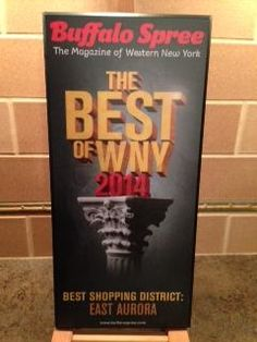 Congratulations everyone! Proud to be a part of this amazing East Aurora family! Congratulations to all East Aurora shops, restaurants and businesses for being named the 2014 Best Shopping District at Buffalo Spree's Best of Western New York Awards Party this evening!  It is truly a team effort and this designation is a wonderful recognition of what we have @EA.