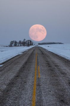 Taken 12-16-2013 at moon rise on this road to nowhere in eastern South Dakota.  ©Aaron J. Groen
