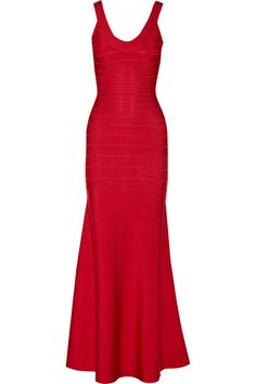Hervé Léger bandage ribbon dress long red
