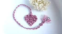 Heart Knot Necklace Bookmark Luggage Tag Ornament Decor in Pink Plaid Paracord Valentines Day #Gift for Daughter Friend Student - pinned by pin4etsy.com