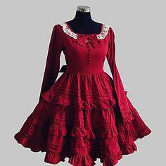 Camiseta de manga larga hasta la rodilla vestido de algodón dulce rojo Lolita – EUR € 57.74