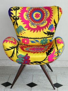 adorable pink and yellow suzani printed chair! – Home Decor Funky Chairs, Cool Chairs, Colorful Accent Chairs, Funky Furniture, Painted Furniture, Antique Furniture, Colorful Furniture, Painted Dressers, Furniture Design