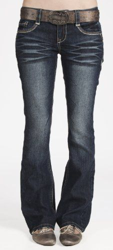 Wallflower Junior Plus Size Belted Sexy Bootcut Jean in Pure Indigo - Listing price: $54.00 Now: $31.99 + Free Shipping