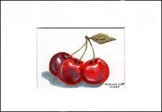 """Three Fresh Cherries"" - Original Fine Art for Sale - © Patricia Ann Rizzo http://dailypaintworks.com/fineart/patricia-ann-rizzo/three-fresh-cherries/160205"