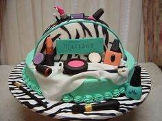 Spa and makeup birthday party - The cake is vanilla with buttercream icing. The make up bag is vanilla cake covered in fondant. All the make up is made from fondant gumpaste. This was for a 12 year old girl.