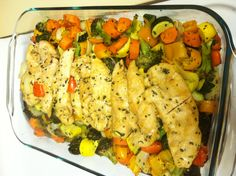Healthy easy dinner!!! Broccoli, squash, red and yellow bell pepper, onion, and carrots with a tablespoon of olive oil and your favorite seasonings. Then place chicken seasoned the way you like it on top. Bake for 30-40 minutes at 400 degrees (or until chicken is done). So good and very healthy!