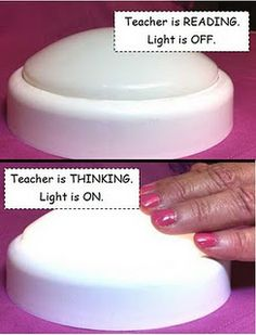 Use touch lights for think alouds. When you are reading aloud, the light is off; when you are thinking aloud, the light is on. Touch lights can be purchased at The Dollar Tree.