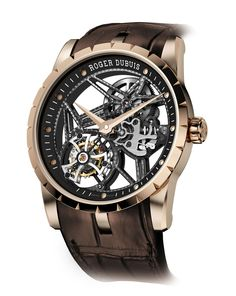 Roger Dubuis Excalibur Double Skeleton Tourbillon - Limited Edition in pink gold. The new case is 12% thinner and the crown guard has been refined to create an ideal contrast with the black ceramic bezel and screws.