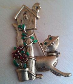 Cat At The Birdhouse Vintage Brooch By Danecraft