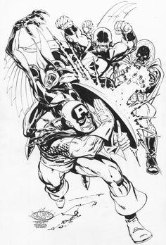 Captain America & Puck Vs Baron Blood & Golgotha commission by John Byrne. 2015.