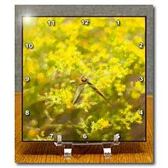 Yellow leaves made into a glass-like finish Desk Clock