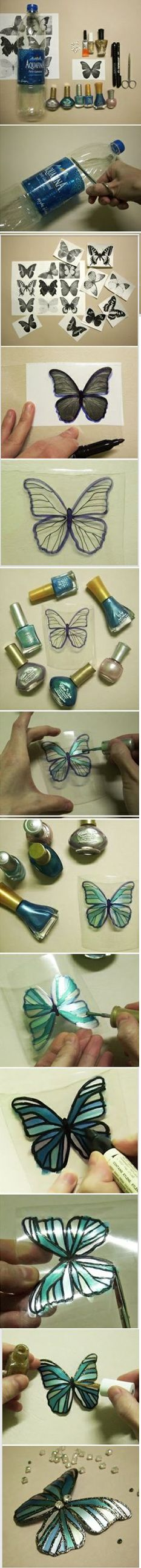 Make a butterfly from a fizzy drinks bottle. I have reworked this into a pic as the the original link led to spam