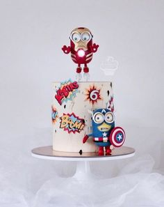 Super cupcakes decoration ideas boys cake tutorial Ideas – Some Popular Pins Series Cool Birthday Cakes, Birthday Cupcakes, Velvet Cake, Torta Minion, Minion Cakes, Minions, Fondant Cakes, Cupcake Cakes, Marvel Cake