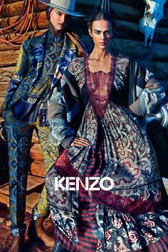 Aymeline Valade and Kasia Struss by Mario Sorrenti for Kenzo Fall/Winter 2011 Campaign