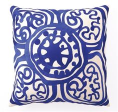 Rustic Medallion Embroidered Pillow in Lapis - Trina Turk
