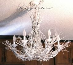 Funky Junk Interiors: Lighting up my life with a white twig chandelier. made with white Krylon spray paint, twigs, and a thrifted chandelier Driftwood Chandelier, Branch Chandelier, Chandeliers, Closet Chandelier, Unique Chandelier, Chandelier Makeover, Chandelier Ideas, White Chandelier, Funky Junk Interiors