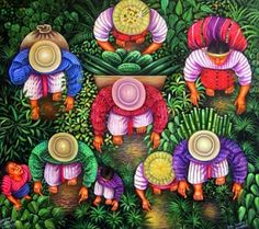 From Field to Village by Mariano Gonzalez Chavajay Art Central, Hispanic Art, Peruvian Art, Latino Art, Southwest Art, Pastel, Indigenous Art, Mexican Folk Art, Naive Art