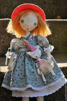 Купить Коллекционная кукла Соня - бирюзовый, кукла ручной работы, коллекционная кукла, кукла текстильная