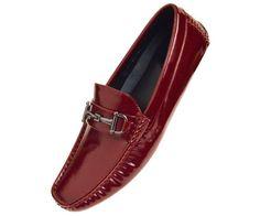 Amali Mens Burgundy Crinkled Patent Loafer Driving Moccasin Shoe Culver-175 #Amali #Loafer