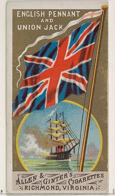 """Royal Standard, Great Britain, from """"Flags of All Nations"""" series 1 (N9) for Allen & Ginter Cigarettes, c1887."""