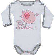 Body Bebê Menina com Strass e Bordado Branco - Patimini :: 764 Kids | Roupa bebê e infantil