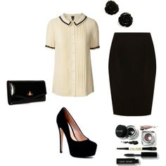 Retro Office Look, created by mizb723 on Polyvore