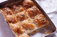Feta cheese pie by Greek chef Akis Petretzikis. A great recipe for a Greek cheese pie with feta, gruyere and bechamel sauce in between sheets of crunchy phyllo! Wing Recipes, Chef Recipes, Cookbook Recipes, Greek Recipes, Cooking Recipes, Greek Cheese Pie, Cheese Pies, Cheese Pie Recipe, Perfect Food