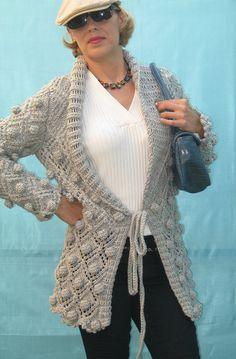 Hand knit bobbles cardi, BANDofTAILORS, Etsy