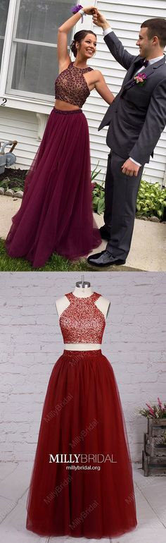 Long Prom Dresses Two Piece,Burgundy Formal Evening Dresses Sparkly,A-line Military Ball Dresses with Beading,Tulle Wedding Party Dresses Sleeveless Two Piece Formal Dresses, Formal Dresses For Teens, Formal Evening Dresses, Trendy Dresses, Prom Girl Dresses, Tulle Prom Dress, Prom Party Dresses, Graduation Dresses, Pageant Dresses