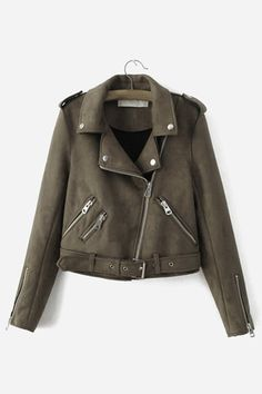 Plain Color Lapel Neck Zipper Biker Jacket with Zipper Pockets - US$49.95 -YOINS