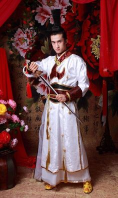 Spring 2014 New Hanbok Chinese Traditional Top Dress hanfu White Men Dress Wo Clothing Chinese Hanfu Costume Assassins Creed(China (Mainland))