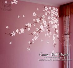 cherry flower wall decals cherry  blossom  vinyl wall decals girl nursery wall decals sticker children wall decal- cherry blossom Z168 cuma. $59.00, via Etsy.