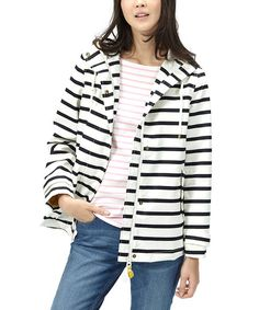 Shine through the rainy days with this raincoat flaunting a bold stripe design. A breathable cotton-blend construction lends all-day comfort to your look, and taped seams make it totally waterproof.