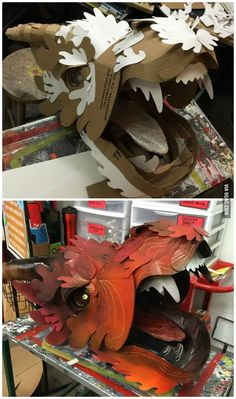 Cardboard dragon head