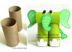 How to make elephant from rolls of toilet paper - ArtsyCraftsyDad Toilet Roll Craft, Toilet Paper Roll Art, Rolled Paper Art, Toilet Paper Roll Crafts, Projects For Kids, Diy For Kids, Crafts For Kids, Craft Projects, Animal Crafts