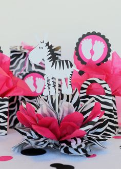 Hot Pink And Zebra Centerpieces | RESERVED for Chantall 6 zebra hot pink table by missdaisyw