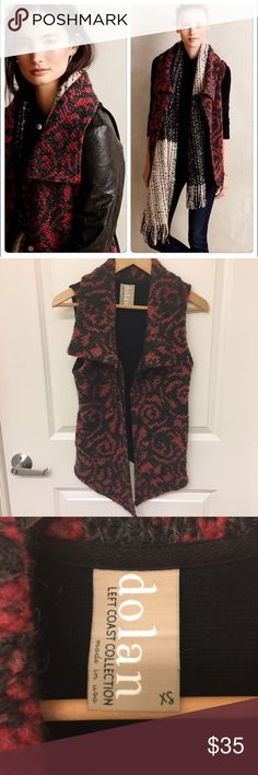 Anthropologie Red & Black Vest Excellent condition! Has side pockets. Back is plain black. Anthropologie Jackets & Coats Vests