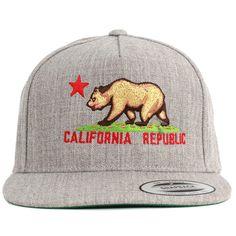 California Republic Embroidered Snapback Flat Brim Baseball Hat - Heather Grey