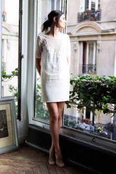 Robes mariage civil - Robes Mariées personnalisables - Soie et Dentelle - Ligne blanche - La Sophistiquée - L'AMUSÉE