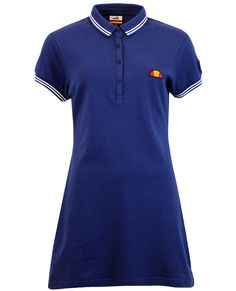 Brand: Ellesse Womens. Key Points: Ellesse Womens Retro 80s pique polo dress with contrast tipping