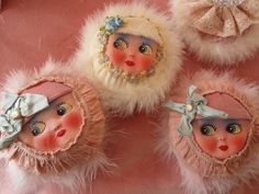How cute are these powder puff girls with vintage doll faces and soft furs and velvets...
