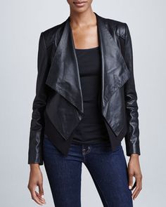 8c0ddb8b0dcb6c Mixed-Media Open-Front Jacket by Bagatelle at Neiman Marcus. Laser Cut  Leather