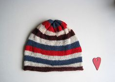CLEARANCE Knitted hat striped woman man unisex by woolpleasure