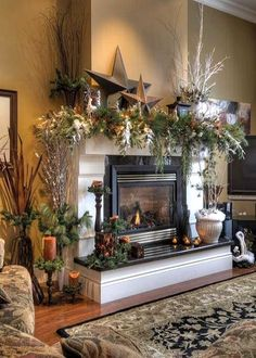 winter decorating after christmas mantel decor for fall winter photo by sangaree_ks photobucket - How To Decorate A Fireplace Hearth For Christmas