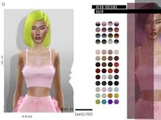 sims 4 cc // custom content bob hairstyle // the sims resource // Leah Lillith's LeahLillith Neon Dreams Hair Sims 4 Mods Clothes, Sims 4 Clothing, Sims Mods, Sims 4 Tsr, Sims Cc, Sims 4 Black Hair, The Sims 4 Cabelos, Pelo Sims, Divas